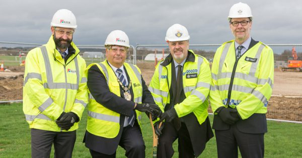 Philip Stuart, Senior Quantity Surveyor, from Kier Group; Councillor Richard Bassett, Chairman of Epping Forest District Council; Mark Burns-Williamson, Police and Crime Commissioner of West Yorkshire and Ollie Dismore, Temporary Accountable Manager of the National Police Air Service at the site of the new NPAS North Weald base