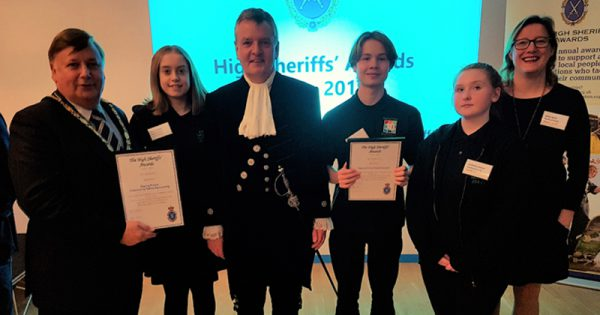 Youth Councillors with Chairman and High Sheriff