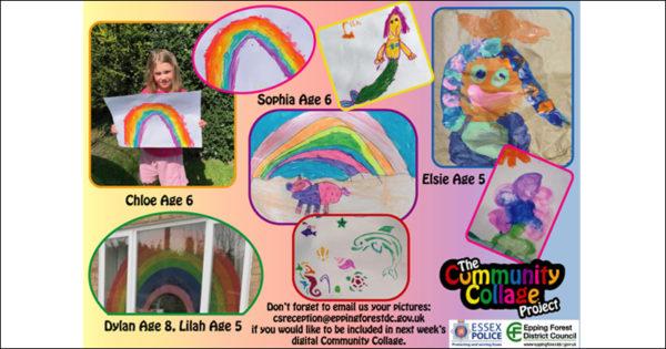 Collage of children's rainbow artwork