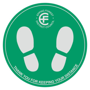 Social distancing floor sticker with feet