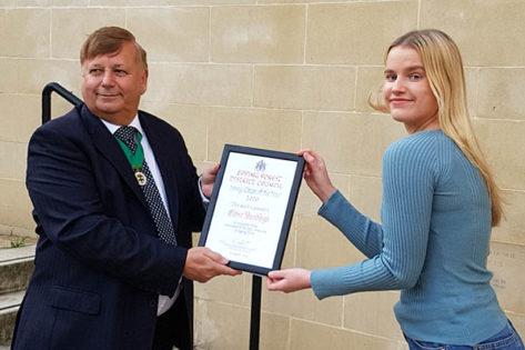 Eloise Hadleigh Young Citizen of the Year winner with Cllr Richard Bassett