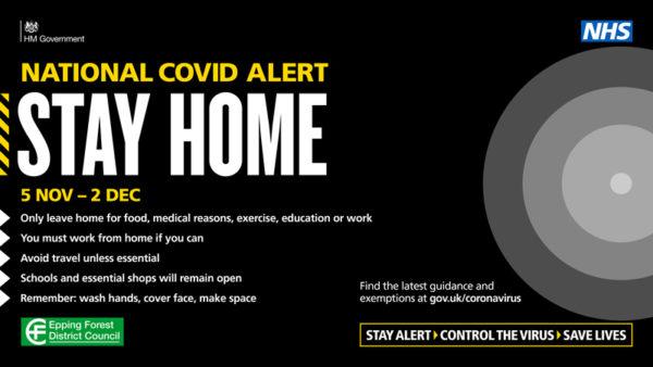 National COVID alert - stay home 5 Nov to 2 Dec