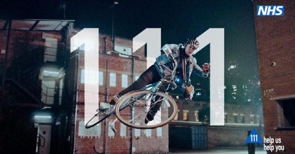 Woman falling off her bike, help us help you, call 111