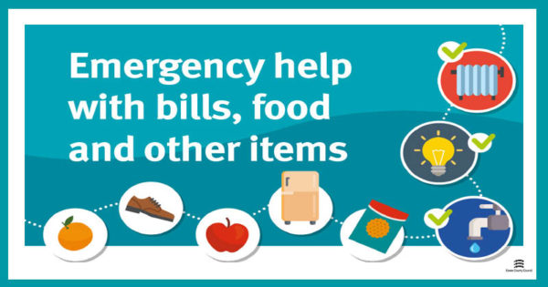Essential Living Fund graphic with images of food, clothing and household items