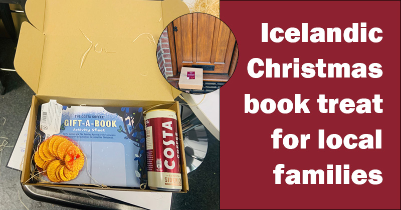 Box on the door step, inside the box in chocolate coins, iced costa coffee, book for adult and child and activity sheet