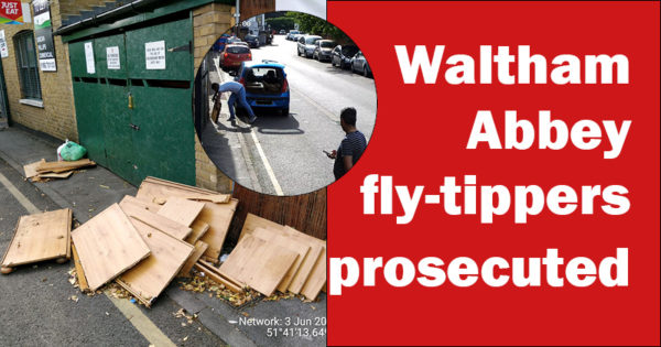 Fly-tipper emptying his car of wood on the side of the road in Waltham abbey, pile of wood dumped.