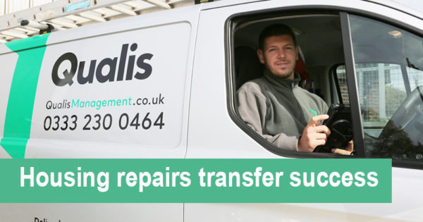 Qualis Management employee, Jake Evans in the driving seat of a Qualis Management van.