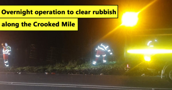 Overnight operation to clear rubbish along the Crooked Mile