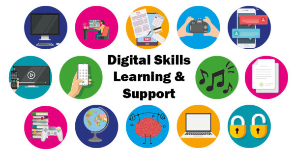 Digital Skills Learning & Support . Variety of technology icons