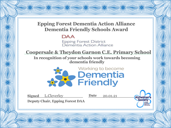 In recognition of your schools work towards becoming dementia friendly