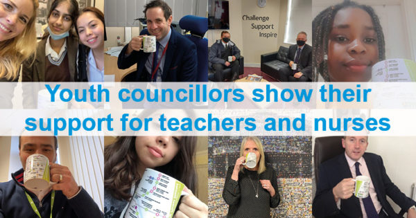 Youth Councillors and Headteachers show there Youth Council mugs in a selfie