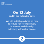 On 12 July and in the following days: We will publish guidance to reduce risk for individuals. businesses and clinically vulnerable people.