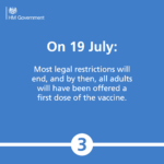 On 19 July: Most legal restrictions will end, and by then, all adults will have been offered a first dose of the vaccine.