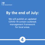 By the end of July: We will publish an updated COVID-19 contain outbreak management framework for local areas.