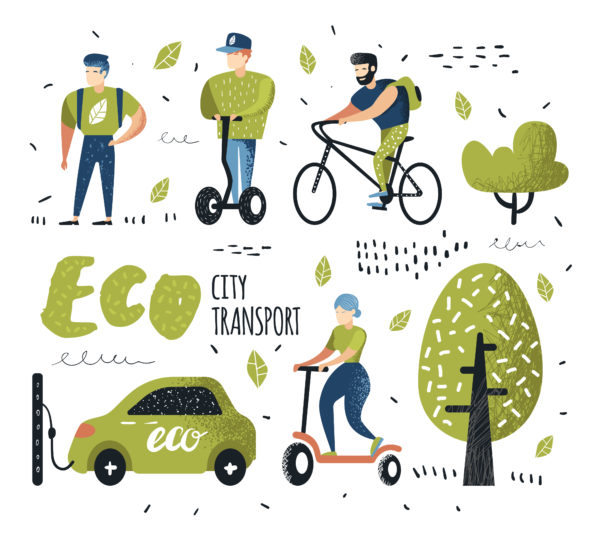 Eco city transport, someone walking, riding a bike, riding a scooter and charging electric car