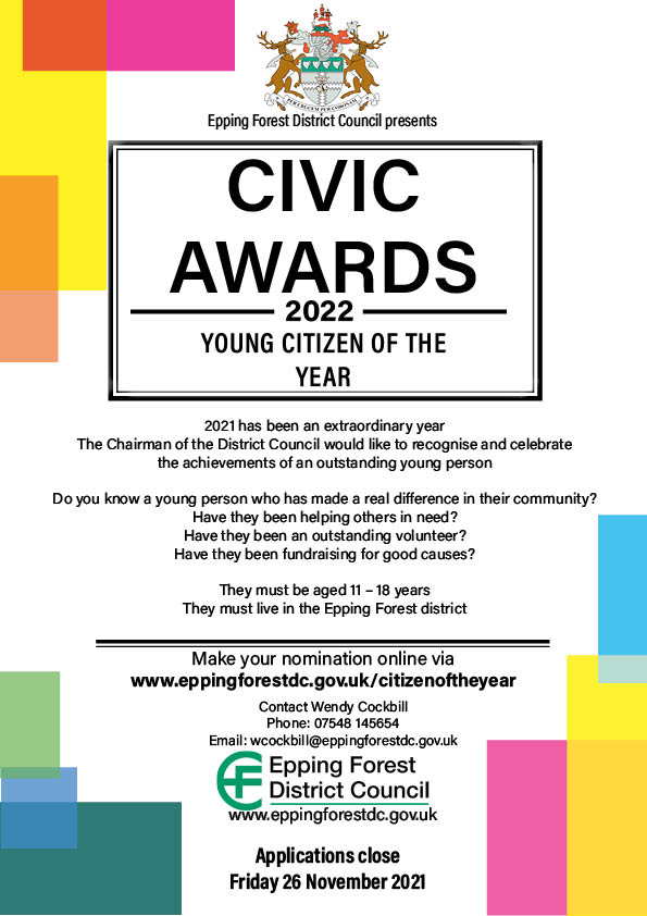 Civic Awards 2022 Young Citizen of the Year. 2021 has been an extraordinary year. The chairman of the District Council would like to recognise and celebrate the achievements of an outstanding young person. Make your nomination online via our website. Applications close Friday 26 November 2021